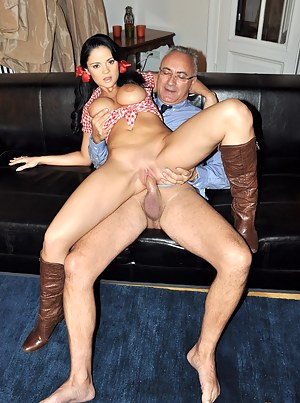 Gorgerous brunette riding his stiff senior schlong hard