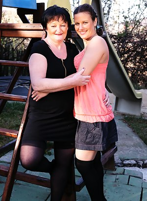 Horny old and young lesbians have fun at their vacation house