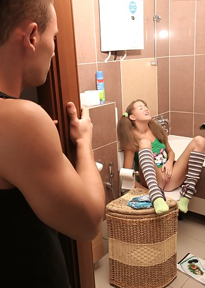 Naughty teen chick kneels and gives unforgettable blowjob to her very handsome boyfriend.