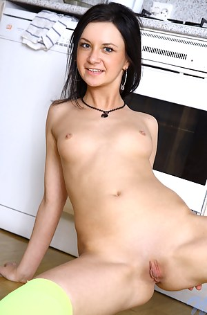 Gorgeous small titted chick Jaiden wears stockings and fingers herself