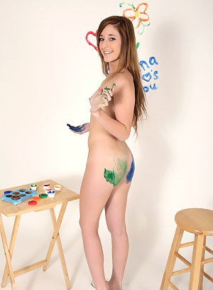 Nubile Casana Lei paints her tight titties and spreads her legs