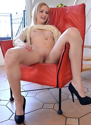 Naughty blonde chick Alica lets Jim Slips film her stripping