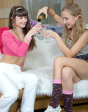 Two adorable teenage lesbians love licking soaked pussies