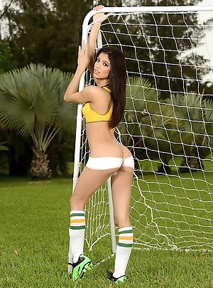 Lovely ladies wearing soccer uniform are enjoying unforgettable sex session. They are playing football and fucking each other wildly.