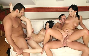 Juicy ladies are letting their partners fuck them really hard. They are practicing doggy style penetration, cock riding and cumshots.
