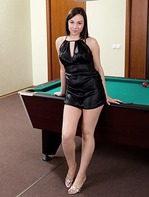 Hairy girl Dana is trying to enjoy a game of pool, but there is something more pressing on her mind. She lifts a leg on the table and grazes her moist mound before getting really hairy in this porn!