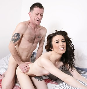 Hot British young babe doing a dirty old man