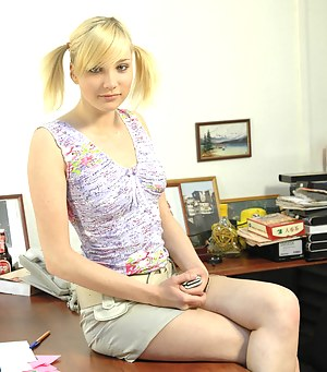 Unbelievably hot blond teen invites a good-looking guy to her office for some hardcore penetration