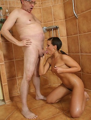This hot babe can't get enough of an old man's cock