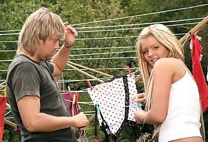 Sweet tiny teenage blonde enjoys a good outdoor fucking