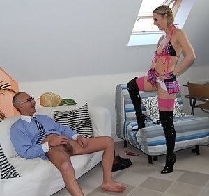British stocking slut enjoys a senior cock inside her twat