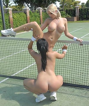Juicy lesbians are playing big tennis outdoor. They are also taking off their sexy short skirts and fucking each other with passion.